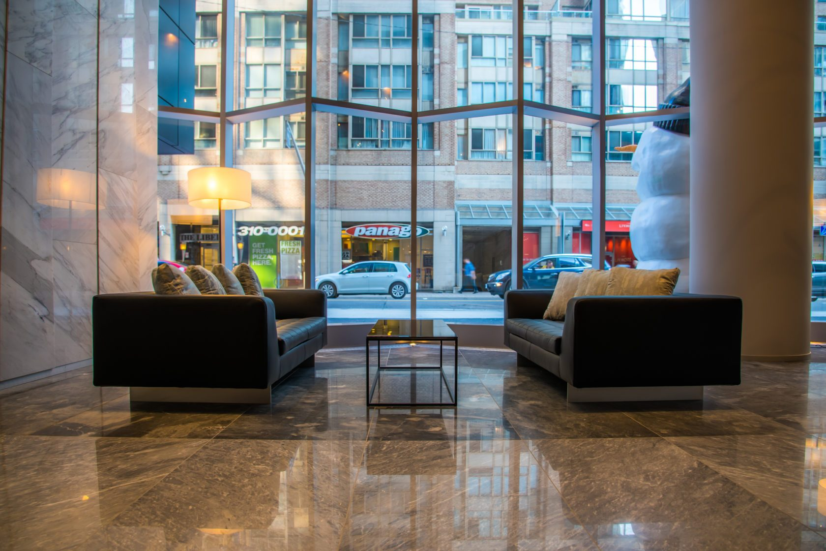 Beautiful lobby with comfy seating