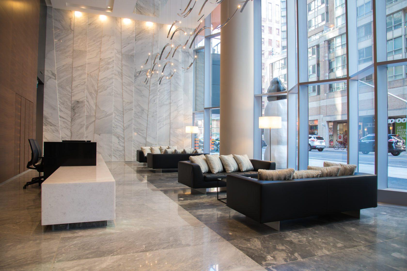Luxury lobby with high ceilings