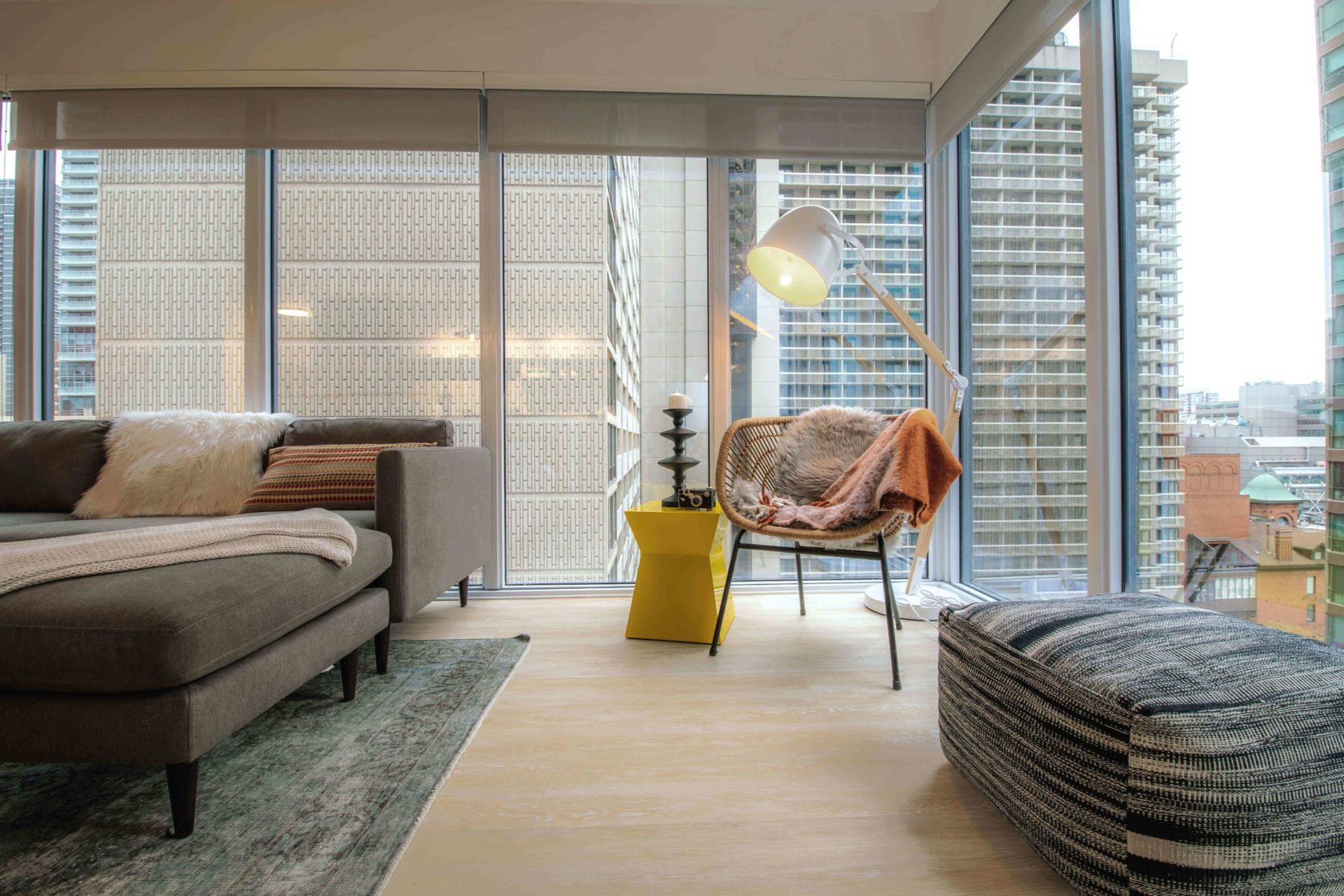 Livmore Suite Living room with cool floor lamp